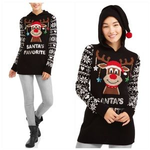 Holiday Christmas Sweater Santa's Favorite Large